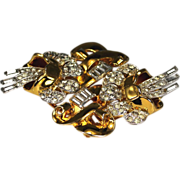 SALE Vintage Coro Duette Double Camellia Pave Rhinestone Pin Clip Circa 1920's-50's