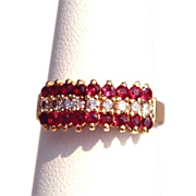 SALE Estate 14 Karat Yellow Gold Diamond Ruby Mid Century Cocktail Ring Fine Used Jewelry