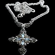 SOLD Edwardian Style Marcasite Aquamarine Cross Pendant Necklace