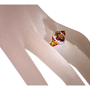 SALE Vintage 10 Karat Two Tone Gold Bicolor Tourmaline Diamond Citrine Ladies Dinner Ring