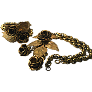 SALE Miriam Haskell Gilt Metal Necklace Bracelet Set Circa 1930's