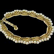 Vintage Trifari Faux Pearl Choker Necklace
