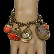 SOLD Vintage Estate Coro Carved Faux Coral Charm Bracelet