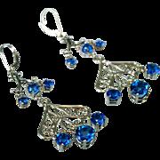 SALE Genuine Ice Blue Topaz Chandelier Drop Earrings