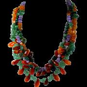Multi Gemstone Triple Strand Bead Necklace
