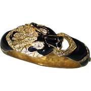 Signed Giorgio Jet Black Enamel Jaguar Cuff Bangle Bracelet