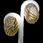 Signed Ciner Crystal Swirl Earrings