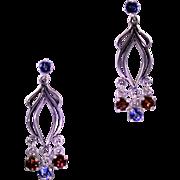 Art Nouveau Style Garnet Topaz Drop Earrings