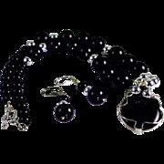 SALE Jet Black Onyx Silver Bead Pendant Necklace Earring Set