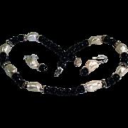 Jet Black Onyx White Shell Necklace Drop Earring Set