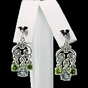 Art Nouveau Style Swiss Blue Topaz Peridot Black Spinel Dangling Earrings