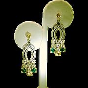 Art Nouveau Style Green Topaz Citrine Dangle Drop Earrings
