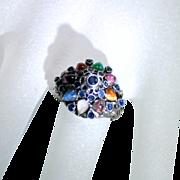 SALE Vintage Multi Gemstone 14 Karat Yellow Gold Princess Pinky Ring