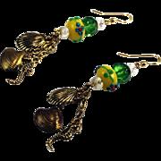 Artisan Sea Horse Shell Charm Lampwork Dangle Earrings