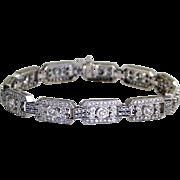SALE Estate 14 Karat White Gold Diamond Bracelet Fine Heirloom Pre Owned Jewelry