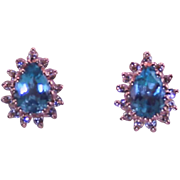Vintage 14 Karat Yellow Gold Diamond Blue Topaz Fine Used Jewelry
