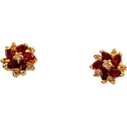 Estate Ruby Diamond 14 Karat Yellow Gold Pinwheel Design Earrings Fine Used Jewelry