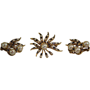 Estate 14 Karat Yellow Gold Pearl Topaz Pendant Brooch