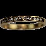 SALE Vintage 14 Karat Gold Diamond Half Eternity Stack Wedding Band Ring Estate Jewelry