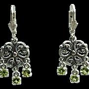 Peridot Gemstone Dangle Drop Snowflake Earrings