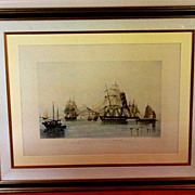 Marine aquatint engraving of The Opium Ships in Lin Tin Harbor 1824