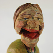 Fun Hand Carved Swiss German Ugly Old Woman Bottle Stopper/Cork