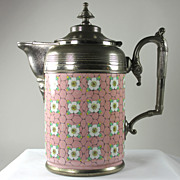 Unique Pink Enamel Ware and Plate Ice Pitcher, Jug, Lined