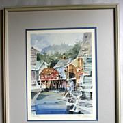 Tom Allen, Signed Numbered Lithograph of a Harbor Side Village
