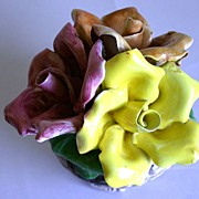 Vintage Capodimonte Bowl with Flowers Capo Di Monte