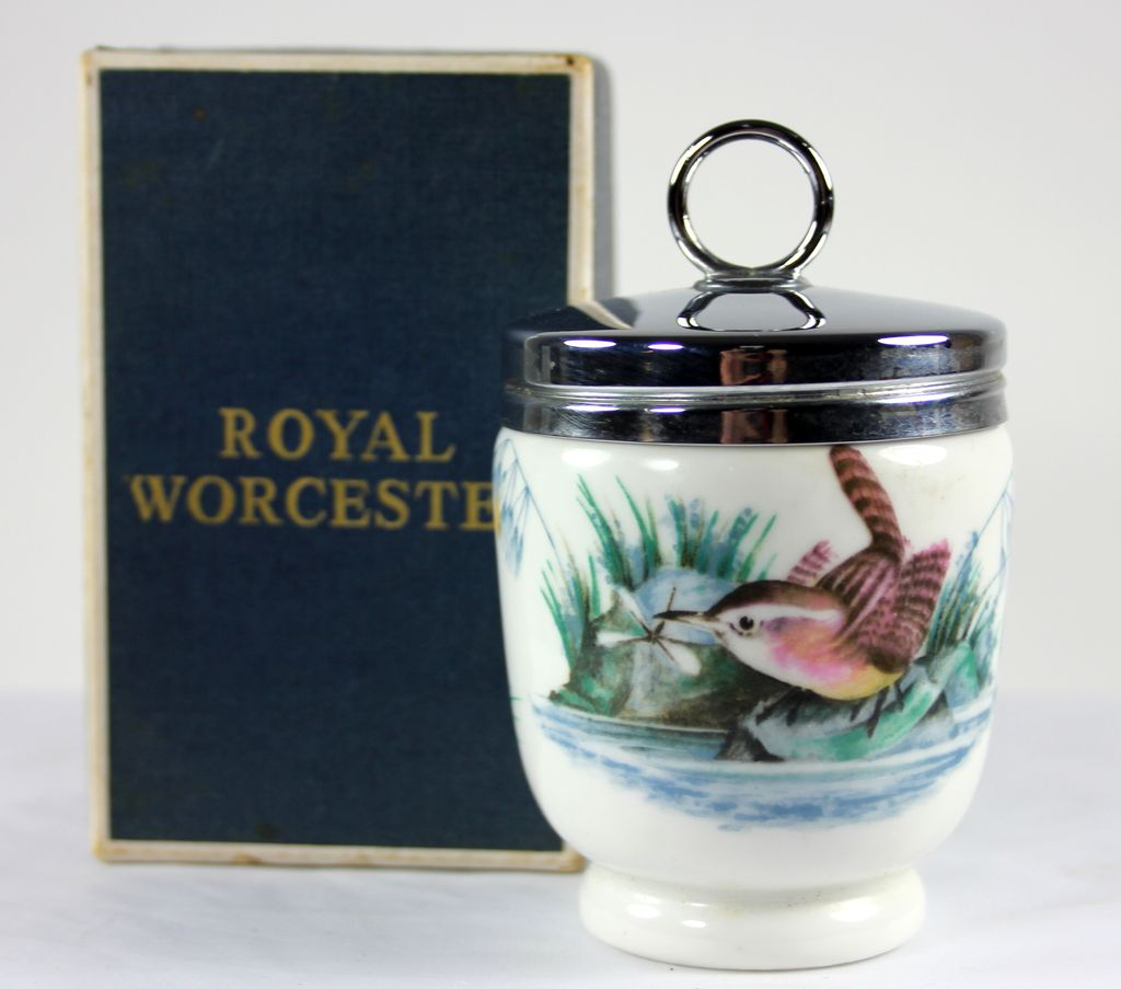 Large Royal Worchester Egg Coddler with Birds and Box