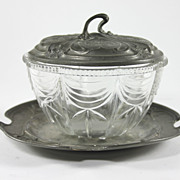 Antique French Pewter Dish with Lid