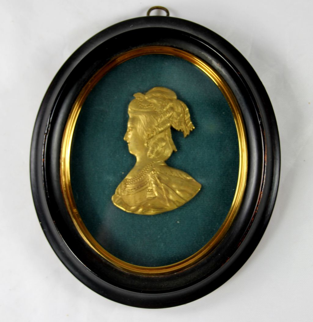 Gilt Bronze Profile of a Victorian Lady in Miniature Frame