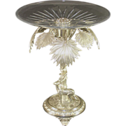 Large ornate silver plated center piece, glass insert, stag and palm trees