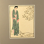 Fabulous original drawing by of a Japanese geisha, signed Tania Couboch