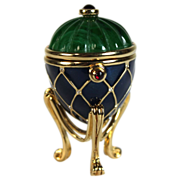 Antique green, blue and gold plated miniature jewelry box casket