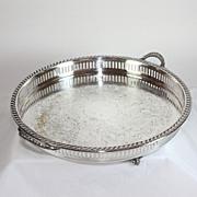 Vintage W.S. Blackington round silverplate gallery tray