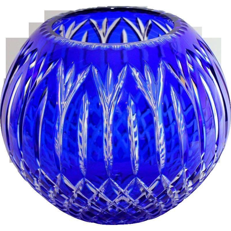 Large cut to clear cobalt blue Bohemian glass center bowl, excellent