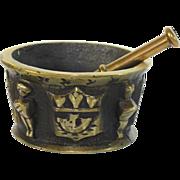 Antique French bronze mortar, pestle, 19th c, heraldic