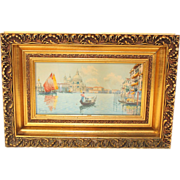 Watercolor painting by Natale Gavagnin (1851 -1923), Grand Canal Venice, gorgeous frame