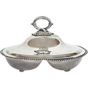 Vintage Wilson & Gill silver plate divided serving dish with lid