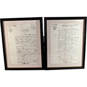 Pair of Antique French Original Legal Documents framed and signed