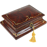 Antique Gilt Tooled Leather Jewelry Box with Working Key
