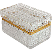 Large Crystal Casket with Gold Metal Closure