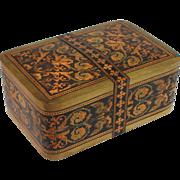 Rare Antique Tunbridge Ware Card Box, Playing Cards