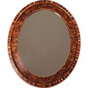 Vintage French Mirror with Faux Burl Wood Frame