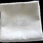Antique French Linen Monogrammed Napkins, Set of Six