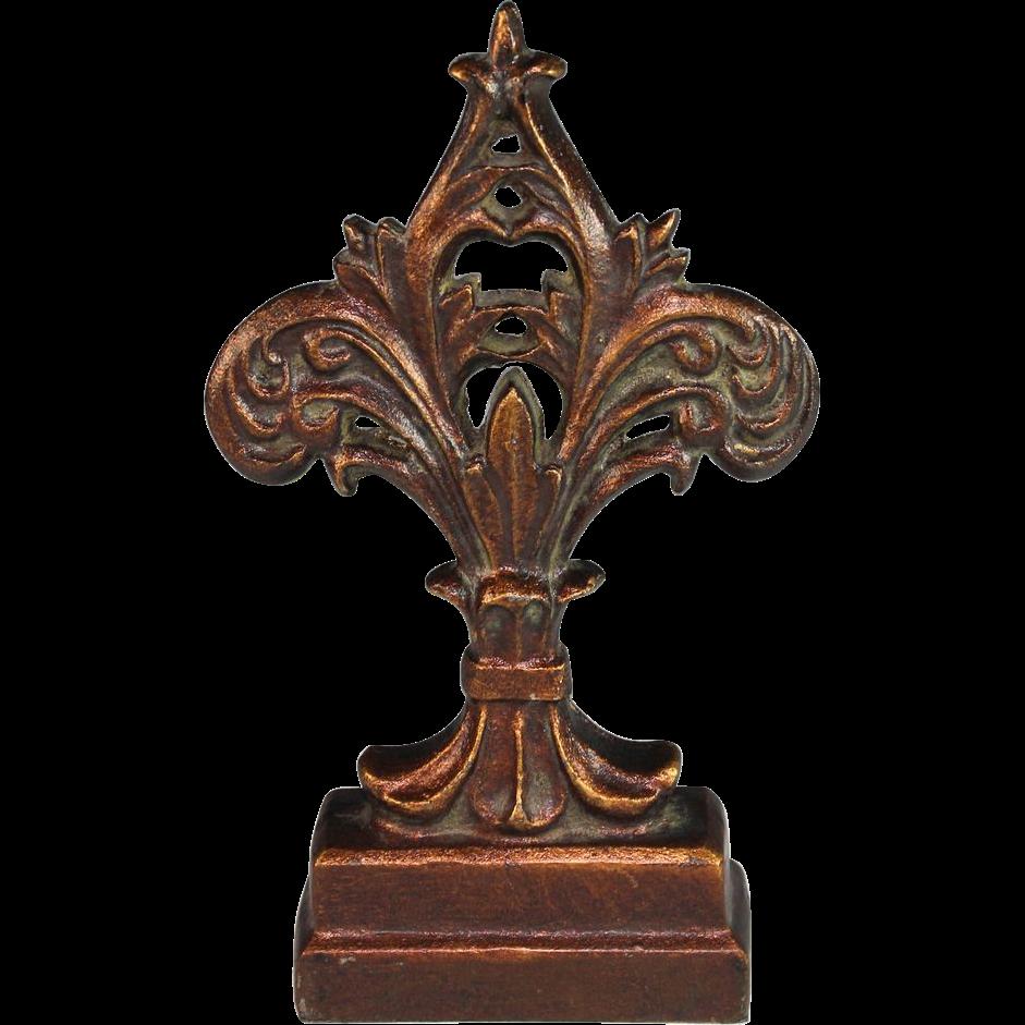 Antique Cast Iron Doorstop Door Stop Fleur De Lis From
