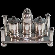 Antique Silverplate Condiment Set, Very Unique Silver Plate