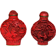 Pair of Early Chinese Cinnabar Snuff Bottles