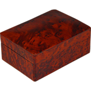 Amboyna Burl Wood Box with Slightly Domed Lid